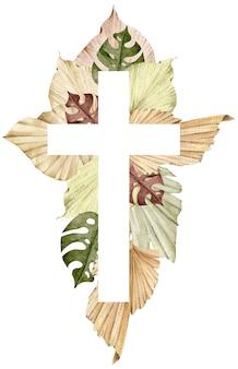 Ilustração em aquarela de uma cruz decorada com folhas de palmeira tropical