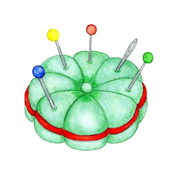 Ilustração em aquarela de uma pequena almofada verde para inserir e armazenar agulhas e alfinetes