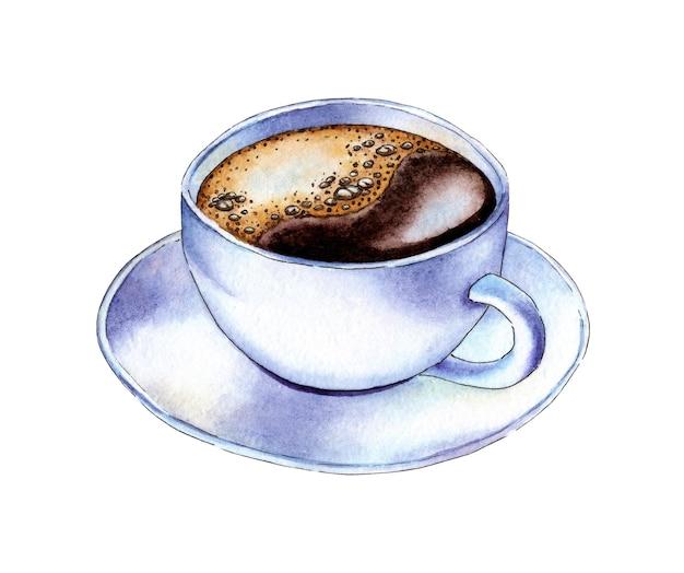 Ilustração em aquarela de uma xícara de café branco e pires café em uma xícara branca com espuma preta