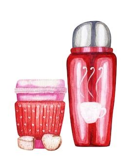 Ilustração em aquarela de uma xícara de café ou chá de papel para viagem e uma garrafa térmica vermelha isolada