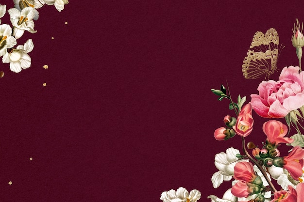 Ilustração em aquarela floral rosa com borda decorada em fundo vermelho