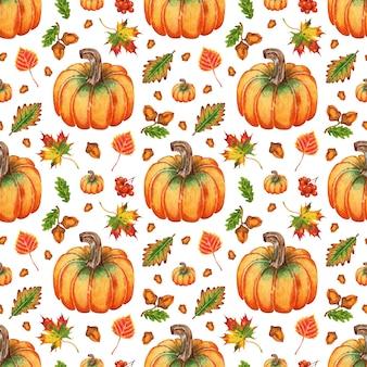 Ilustração em aquarela folhas de outono bolotas e abóboras sem costura repetindo o festival da colheita imprimir