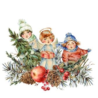 Ilustração em aquarela inverno vintage com crianças e ramos de abeto, pássaro, frutas, pinhas, maçã vermelha.