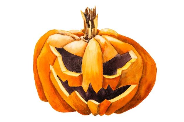 Ilustração em aquarela jack abóbora festiva de halloween isolado no fundo branco