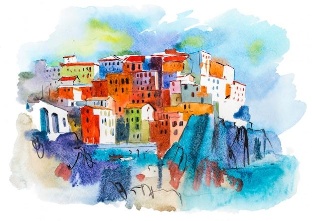 Ilustração em aquarela paisagem cidade pitoresca