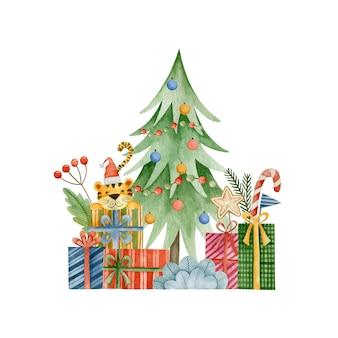 Ilustração em aquarela para o ano novo do tigre natal feliz feriado cartão de felicitações