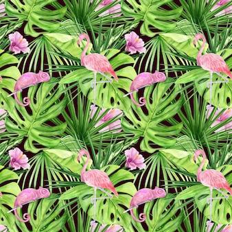 Ilustração em aquarela sem costura padrão de folhas tropicais e flamingo rosa