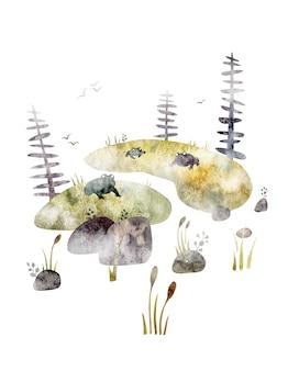 Ilustração em aquarela sobre fundo branco remanso solavancos árvores pedras juncos sapos rãs nevoeiro