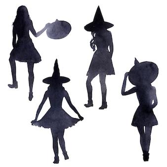 Ilustração em aquarela sobre o tema do feriado do dia das bruxas. caracteres e atributos característicos