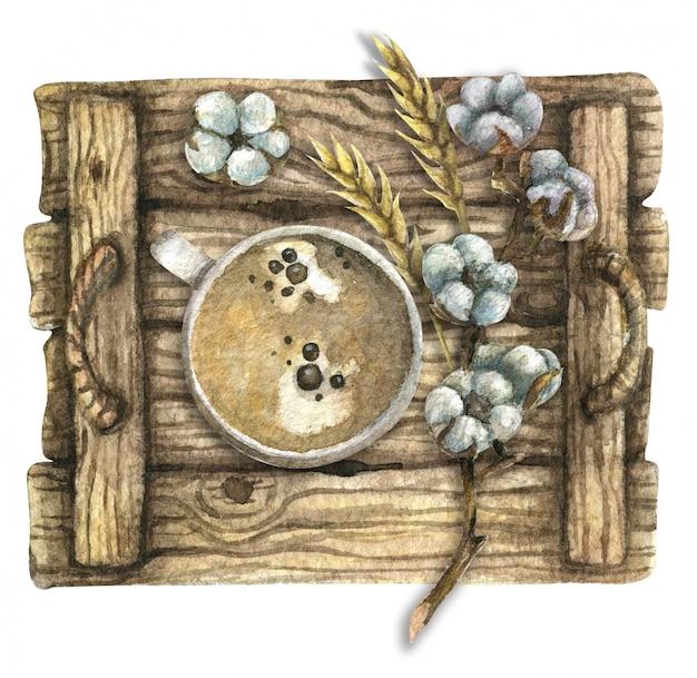 Ilustração em aquarela. vista do topo. bandeja de madeira com uma xícara de café, algodão, milho. café da manhã.