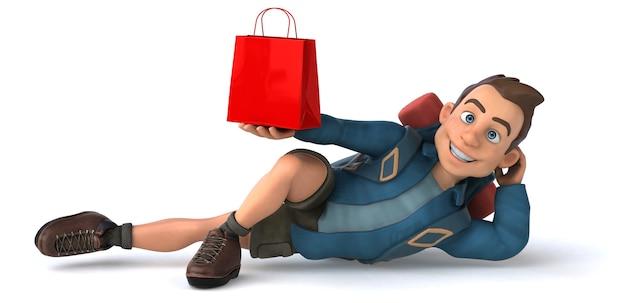 Ilustração engraçada de um mochileiro de desenho animado em 3d