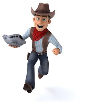 Ilustração engraçada do cowboy 3d