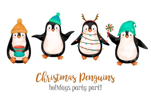 Ilustração engraçada dos pinguins, clipart dos pinguins de natal, feriados de ano novo, festa de inverno