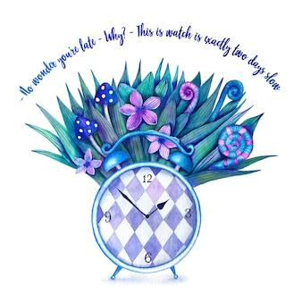Ilustração fofa com um relógio e uma citação de alice no país das maravilhas