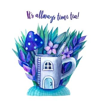 Ilustração fofa com uma xícara e uma citação de alice no país das maravilhas