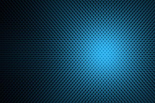 Ilustração futurista abstrata com bolinhas nas cores azuis e pretas.