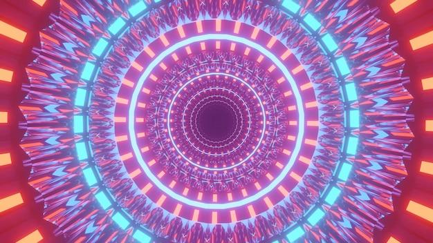 Ilustração futurista bacana com círculos coloridos iluminados e luzes em um fundo preto