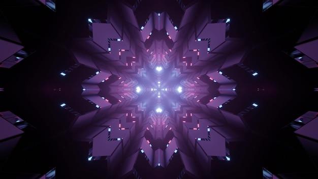 Ilustração futurista em 3d de um padrão em forma de floco de neve com iluminação roxa na escuridão como fundo abstrato