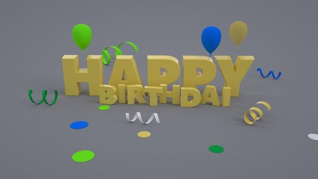 Ilustração gráfica 3d. texto de ouro colorido com feliz aniversário. foto de férias. feliz aniversário de texto dourado isolado em fundo cinza