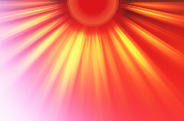 Ilustração hd dramática da protuberância dos raios de luz do sol