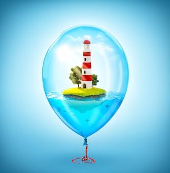 Ilustração incomum de uma pequena ilha fantástica com um farol no oceano