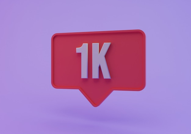 Ilustração instagram como ícone 1k, renderização em 3d