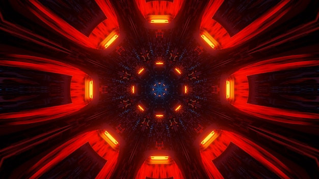 Ilustração legal com formas geométricas e luzes de laser de néon - perfeita para papéis de parede Foto gratuita