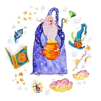 Ilustração mágica artística com mão desenhada elementos artísticos isolados no fundo branco - assistente, chapéu, varinha, livro de feitiços.