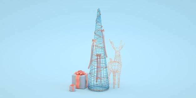 Ilustração mínima de árvore de natal e veado com presente em fundo azul renderização 3d