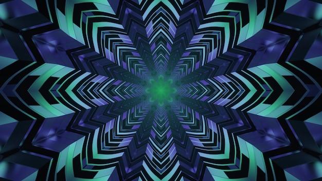 Ilustração ornamental geométrica de néon em 4k uhd 3d