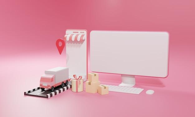 Ilustração plana de renderização 3d loja de compras online em aplicativos móveis e transporte de carga de caminhão de computador e smartphone. ilustração premium