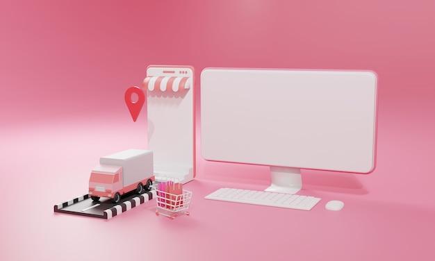Ilustração plana de renderização 3d loja de compras online em aplicativos móveis e transporte de carga de caminhão de computador e smartphone.