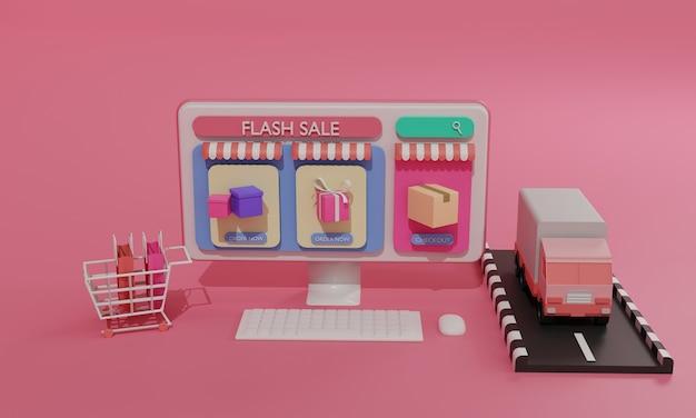 Ilustração plana de renderização 3d loja de compras online em aplicativos móveis e transporte de carga de caminhão de computador. ilustração premium