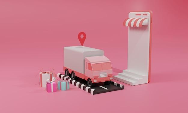 Ilustração plana de renderização 3d loja de compras online em aplicativos móveis e transporte de carga de caminhão de smartphone. ilustração premium