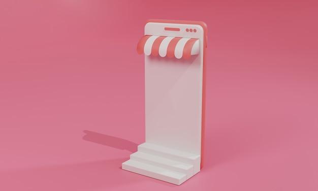 Ilustração plana de renderização 3d loja de compras online no aplicativo móvel do smartphone. ilustração premium