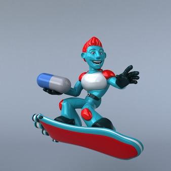 Ilustração red robot 3d
