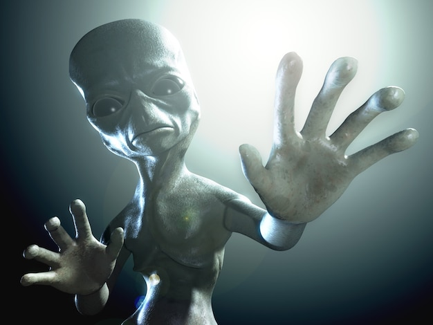Ilustração renderizada em 3d de um personagem alienígena humanóide