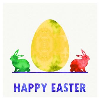 Ilustração retrô de ovo de páscoa e coelhos para plano de fundo de férias. cartão de estilo vintage e criativo