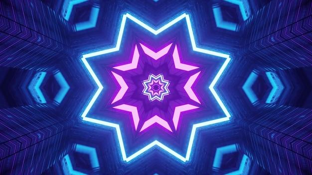 Ilustração simétrica do corredor em forma de estrela 4k uhd 3d