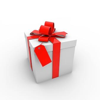 Ilustração simples de uma caixa de presente com um laço vermelho em um fundo branco
