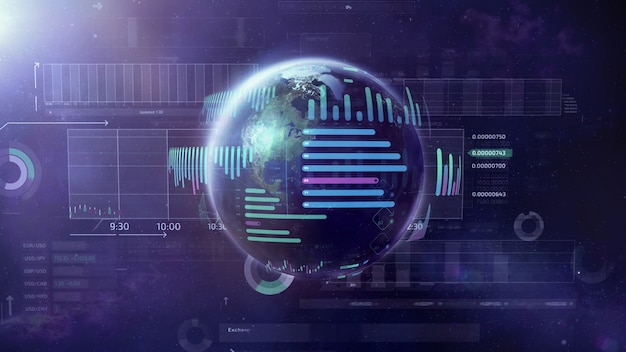 Ilustração sobre o tema big data world.
