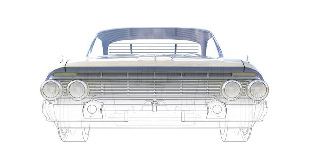Ilustração tridimensional do computador do velho carro americano, combinada com os contornos técnicos do modelo. renderização 3d.