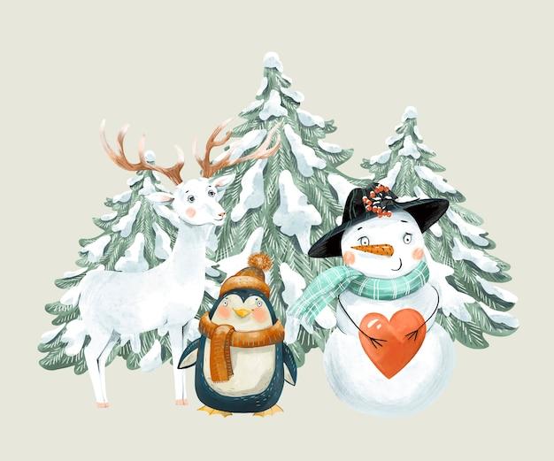 Ilustração vintage de natal com bonito veado branco, pinguim e boneco de neve.
