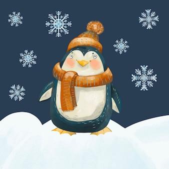 Ilustração vintage de natal com pinguim fofo.