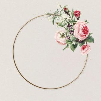 Ilustração vintage flor rosas com moldura rosa