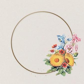 Ilustração vintage linda calêndula com moldura dourada e flor amarela