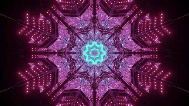 Ilustração vívida 3d com fundo futurista abstrato com linhas brilhantes de néon azul e vermelho e pontos formando um padrão em forma de floco de neve na escuridão