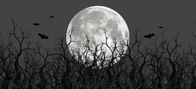 Ilustrações 3d assustadoras de montanhas, árvores e luas panorâmicas. há uma montanha rasa e profunda com névoa. e a lua na floresta à noite