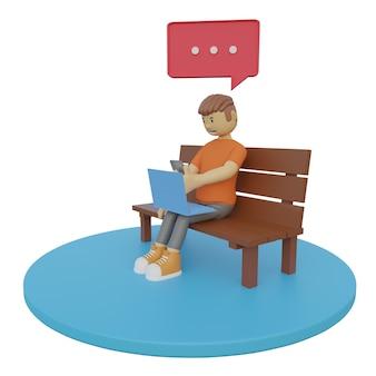 Ilustrações 3d homem sentado e brincando com o laptop e o celular