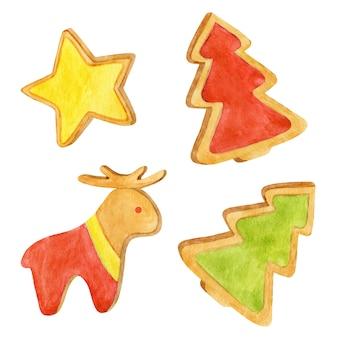 Ilustrações de pão de mel de natal, conjunto de biscoitos em aquarela, abeto, veado, ilustração de estrela de gengibre